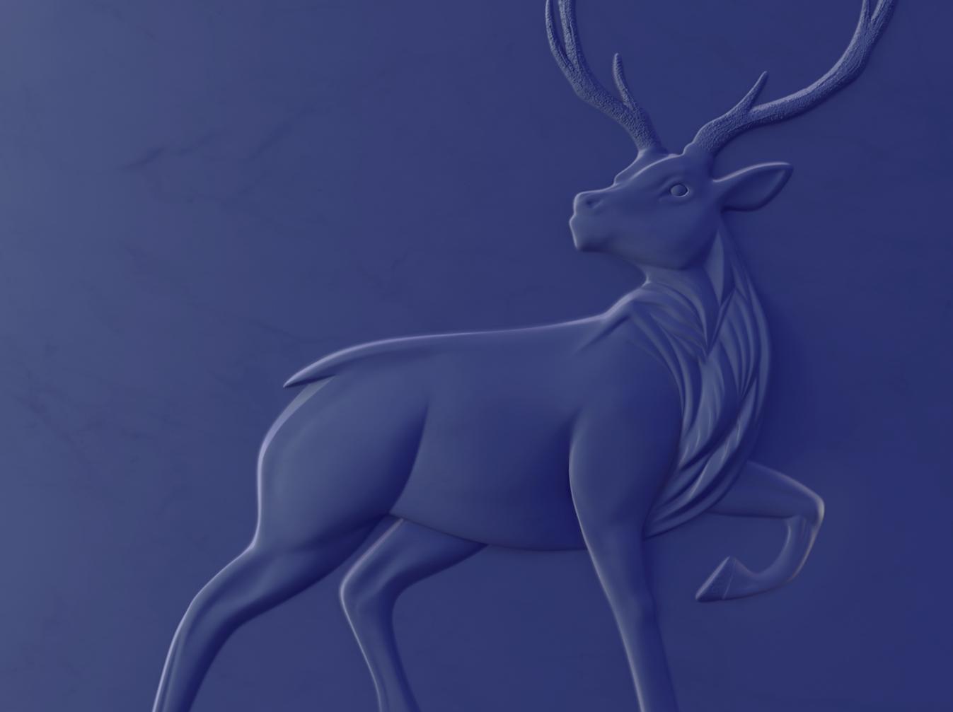 鹿のシンボルレリーフ