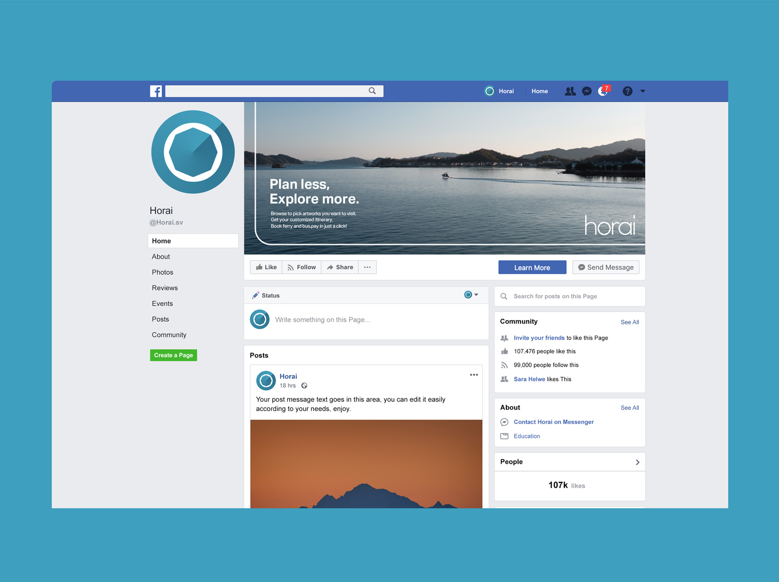 HoraiのFacebookページのイメージ